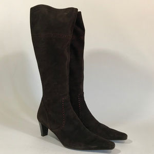 Jaime Mascaró Tall Brown Suede Boot w/Red Details